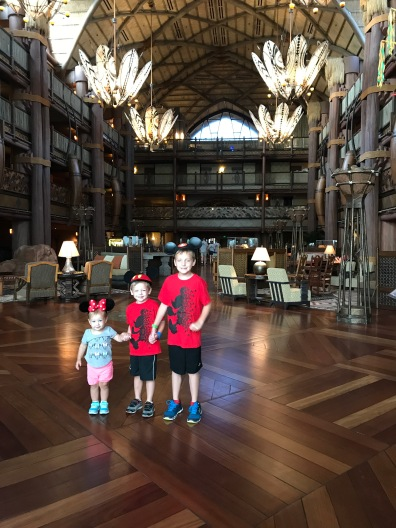 Kids in the main lodge lounge.